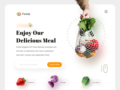 Foody Landing Page Explore minimal ui app fooddelivery design website branding food app foody meals vegan food