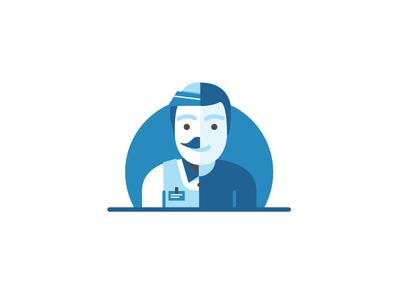 Split person/worker illustration