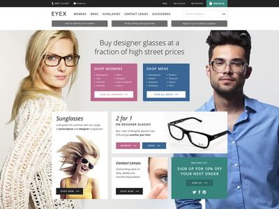 Eyewear shop web website ui flat modern responsive shop ecommerce opticians eyewear browse