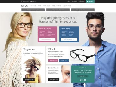 Eyewear shop web website ui flat modern responsive shop ecommerce opticians eyewear browse