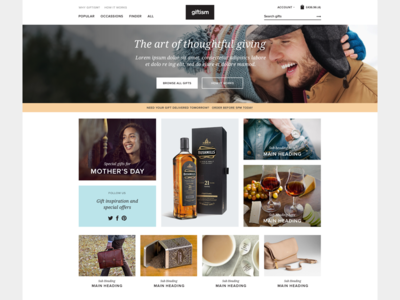 Personalised gifts website web website ui flat modern responsive shop ecommerce account minimal fashion gifts
