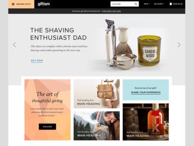 Revised gifts website homepage website ui flat modern responsive shop ecommerce minimal fashion gifts tiles web