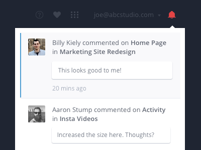 In-app Notifications Launched ui ux comments notifications invision app web prototype