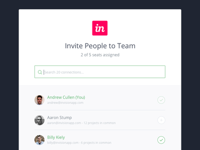 Invite to Team invisionapp ux ui app webapp prototype modal team invite search