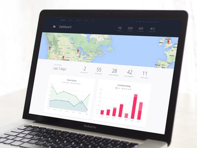 Enterprise Dashboard dark v5 invision dashboard chart graph map ui enterprise material web app app