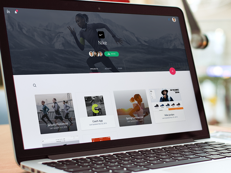 Spaces header splash ui collaborate share invite space folder group prototype app invision