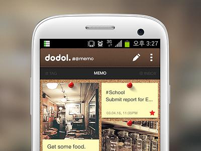 Sharp(#)At(@) Memo mobile memo note ui ux android app cork theme pin skin