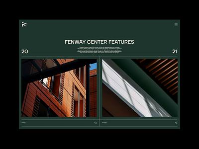 Fenway Center UI Design website intro home hero real estate science architecture fenway boston green minimal web design ui ui design animation motion graphics motion branding