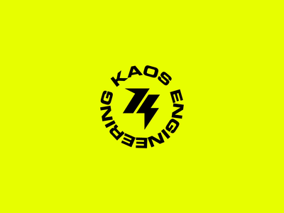 Kaos Engineering Logotype motor bicycle bike technology engineering kaos yellow electric mobility electric energy bolt design motion graphics motion animation logo logotype branding
