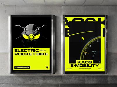 Kaos Engineering Billboards neon biclycle yellow technology mobility electric engineering energy kaos motor ui design ui advertising billboard motion graphics motion animation logo logotype branding