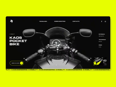 Kaos Engineering Product Page electric mobility motorcycle technology neon yellow motor energy engineering kaos product page e-commerce ui ui design motion graphics motion animation logo logotype branding