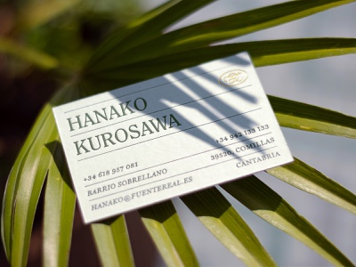 Fuente Real Business Card botanical hotel apartments boutique floral garden print stationery palm plants fuente real card business card design logo logotype branding