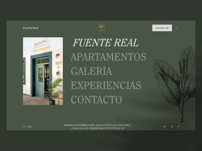 Fuente Real Menu + Apartments botanical garden plants palm floral fuente real boutique apartments hotel web design web ui design ui design motion graphics motion animation branding