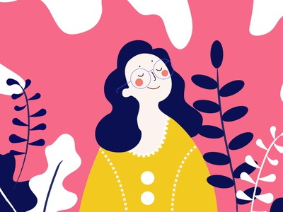 A long time ago. happy happy face girl pink dream big design illustration