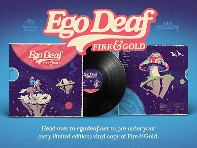 Ego Deaf – Fire & Gold record band cowboy mushroom space trippy vinyl album art