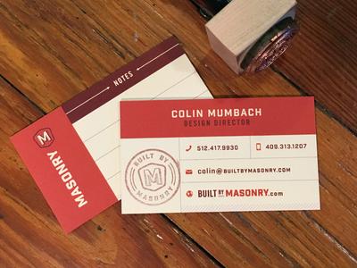 Masonry business cards by colin mumbach dribbble masonry business cards colourmoves