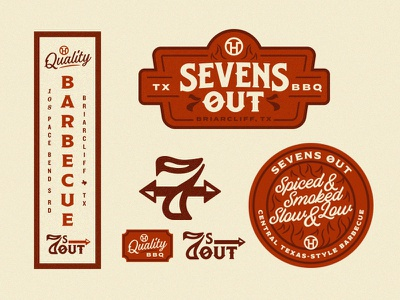 Sevens Out stuff texas sevens out logo signage barbecue bbq