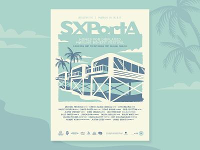 SXPortA Screenprint Poster screen print concert festival beach palm trees 18x24 poster sxsw
