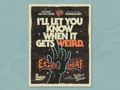 Ego Deaf poster No.1 austin weird trippy poster band ego deaf