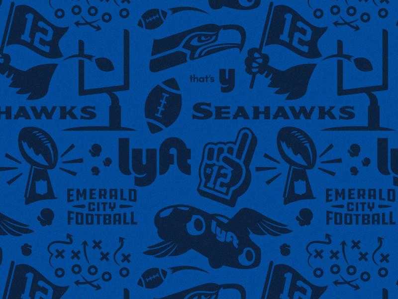 Football Pattern american football illustration trophy wings car football lyft seahawks