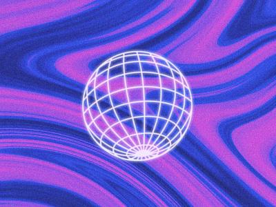 Globe grainy trippy wavy retro texture globe