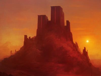 The Citadel sunset fortress digital art art illustration fantasy art landscape art