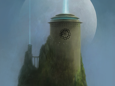 Tower Of The Moon digital artist landscape illustration fantasy art digital art illustration