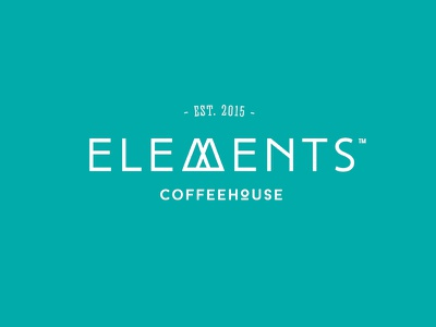 WIP: Elements Coffeehouse logo subtle teal white organic mountain nature elements coffeehouse coffee