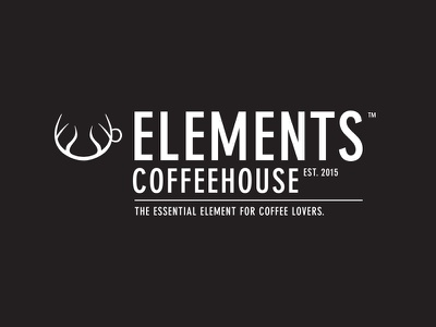 WIP: Elements Coffeehouse 2 typography black cup antlers deer logo white organic nature elements coffeehouse coffee