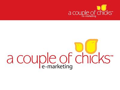 A Couple of Chicks logo branding emarketing feminine modern identity animal chicken