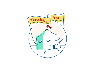 Traveling Tent logo illustration tent banner face smile flag circus theater walk step
