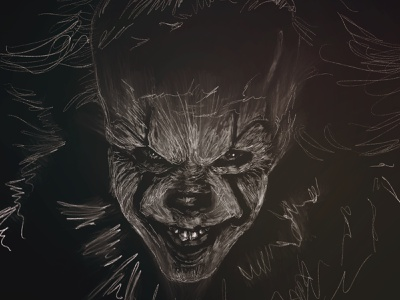 Pennywise from IT it the movie stephen king it pennywise mextures procreate apple pencil portrait illustration ipadproart digital illustrations digitalart applepencil illustration digital illustration