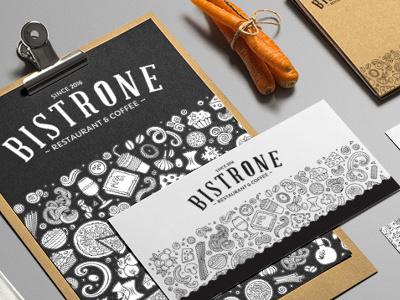 BistrOne - Restaurant &Coffee gastro illustration typography mockup design graphic corporate brand logo identitny