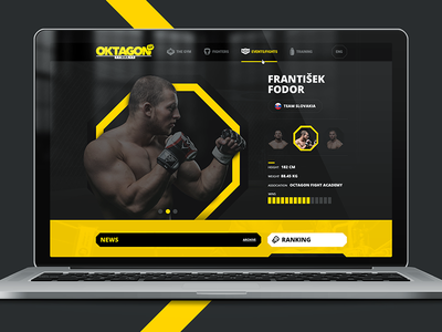 MMA yellow black webdesign html5 paralax sport gym gallery fighter profile website mma