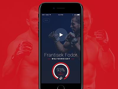 MMA Fighters mockup graph status sport screen iphone ios button player profile app mma