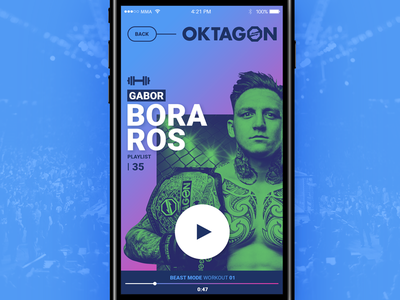 Spotify Workout plalist UI player mma sport color design mobile app cover plalist ux ui spotify