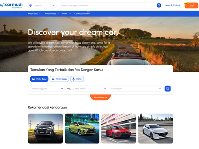 Revamping Carmudi home page shop car website figma flat design ux ui