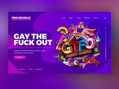 GTFO Web Banner and Branding flyer design logo jb design studio party flyer ui banner design lgbt branding graphic  design