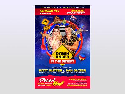 Desert Heat Down Under In The Desert Flyer Design lgbt photoshop branding graphic  design flyer design