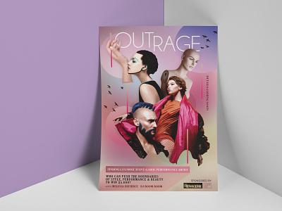 Outrage Flyer Design by Jorge Barragan photoshop branding lgbt party flyer minimal design collage graphic desgin flyer design