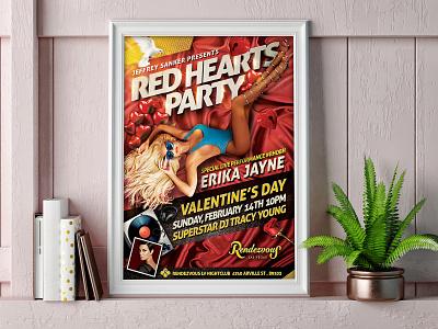Red Hearts Party flyer with Erika Jayne party flyer graphic  design vegas jb design studio erika jayne valentines day flyer design