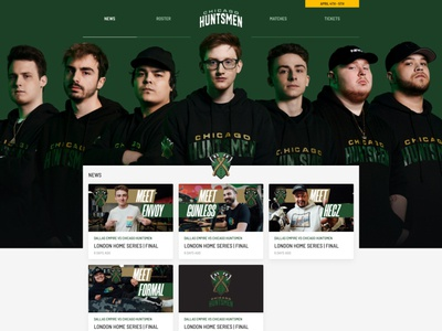 Chicago Huntsmen Homepage website ui green homepage team huntsmen chicago call of duty esports gaming