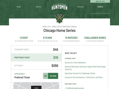Chicago Huntsmen Tickets arena tickets gaming website ui team green gaming esports cod cdl call of duty
