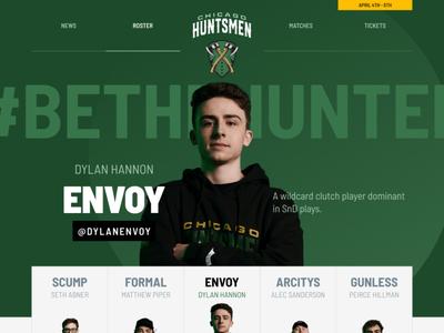 Chicago Huntsmen Players envoy roster players website ui team huntsmen green gaming esports call of duty