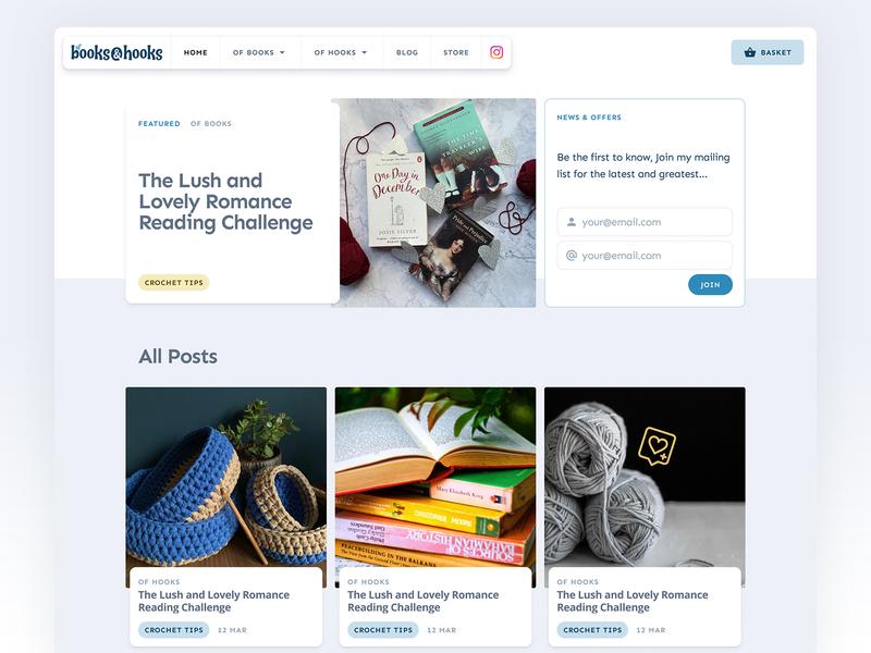 Of Books & Hooks Website - v2.0 websites ui crafts crafting website blog knitting crochet books