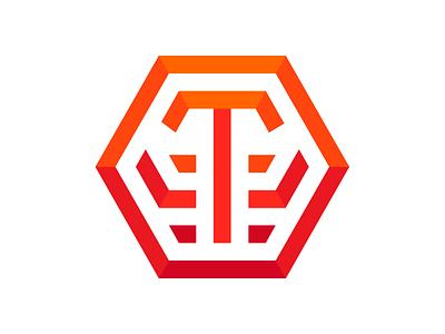 Personal Logo ollie geometrical geometric hexagon orange tiger visual identity brand logo