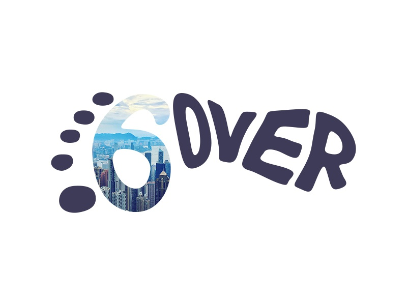 Six Feet Over Logo travel blog logo travel blog six 6 icon branding feet foot blog travel logo