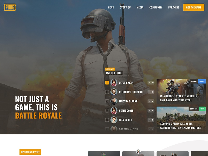 PUBG Concept - eSports card player unknown battle royale gaming ui esports homepage website battlegrounds pubg