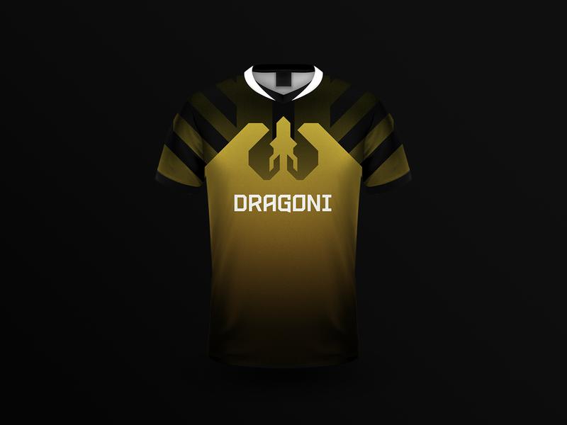Dragoni Jersey yellow logo jersey app gaming gamer esports dragoni dragon branding brand betting apparel