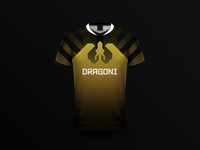 Dragoni Jersey yellow logo jersey app gaming gamer esports dragoni dragon branding brand betting apparel